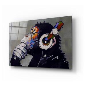 Skleněný obraz Insigne Thinking Monkey,110 x70cm