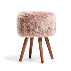 Stolička s béžovým sedákem z ovčí kožešiny Royal Dream, ⌀30cm
