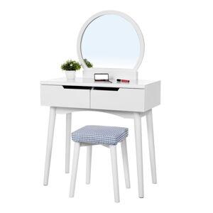 Bílý dřevěný toaletní stolek se zrcadlem, stoličkou a dvěma zásuvkami Songmics