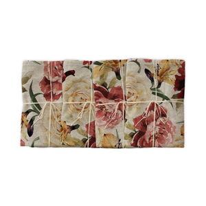 Sada 4 látkových ubrousků s příměsí lnu Linen Couture Roses, 43 x 43 cm
