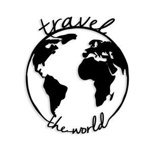 Černá kovová nástěnná dekorace Travel The World, 55 x 62 cm