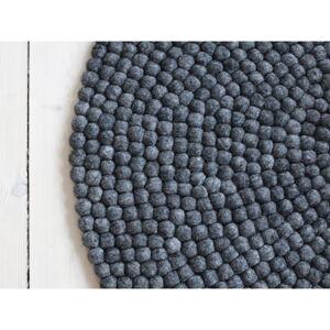 Antracitový kuličkový vlněný koberec Wooldot Ball Rugs, ⌀ 140 cm