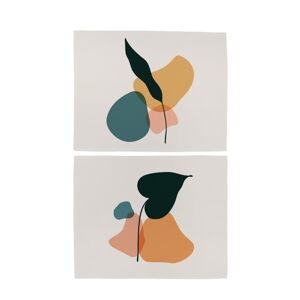Sada 2 ks bavlněného prostírání Butter Kings Botanical Art Dark