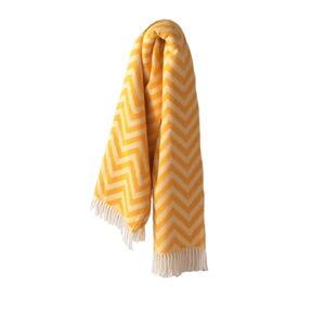 Žlutý pléd s podílem bavlny Euromant Chevron, 140x180cm