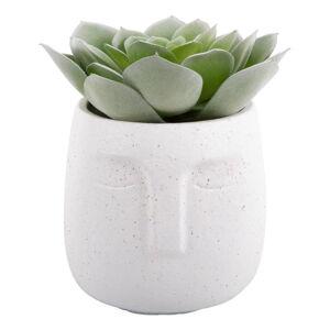 Bílý keramický květináč PT LIVING Face,ø15cm