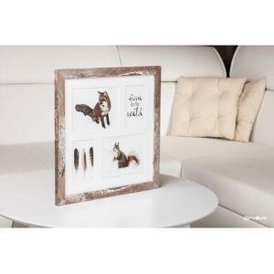Hnědý rámeček na 4 fotografie Styler Bergen, 39x39cm
