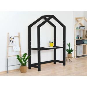 Černý dřevěný stůl ve tvaru domečku Benlemi Stolly,39x97x133cm