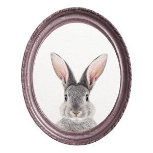 Oválný nástěnný obraz v rámu Really Nice Things Rabbit, 40 x 50 cm