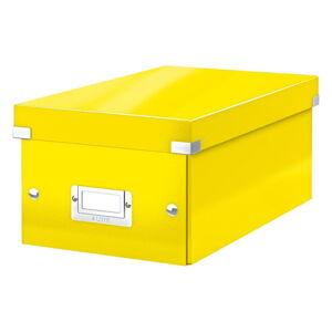 Žlutá úložná krabice s víkem Leitz DVD Disc, délka 35 cm