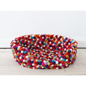 Tmavě červený kuličkový vlněný pelíšek pro domácí zvířata Wooldot Ball Pet Basket, 40 x 30 cm