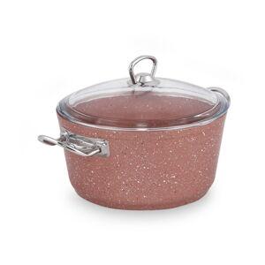 Růžový hliníkový hrnec s poklicí Güral Porselen Classic,ø22cm