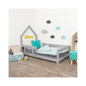 Šedá dětská postel domeček s levou bočnicí Benlemi Poppi, 70 x 160 cm