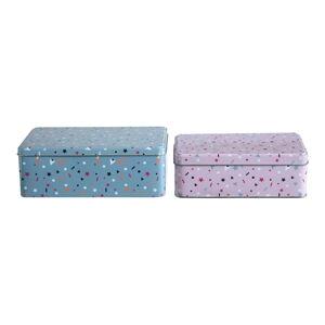 Sada 2 cínových úložných boxů Premier Housewares Stellar, 13 x 20 cm
