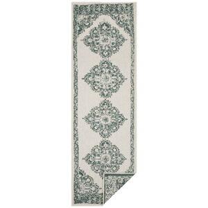Zeleno-krémový venkovní koberec Bougari Cofete, 80 x 350 cm