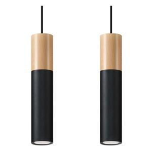 Černé závěsné svítidlo Nice Lamps Paul,délka34cm