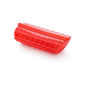 Červená silikonová nádoba s táckem pro vaření v páře Lékué Steam Case