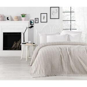 Šedobéžový přehoz přes postel Camila, 220 x 240 cm