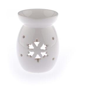 Bílá keramická aromalampa s motivem vločky Dakls, výška 14 cm