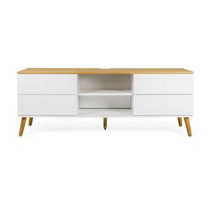 Bílý TV stolek s nohami z dubového dřeva Tenzo Dot, šířka 162 cm
