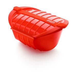 Červená silikonová nádoba pro vaření v páře Lékué Deep Steam Case L