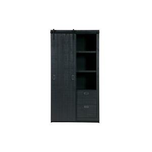Černá skříň s posuvnými dveřmi vtwonen Slide