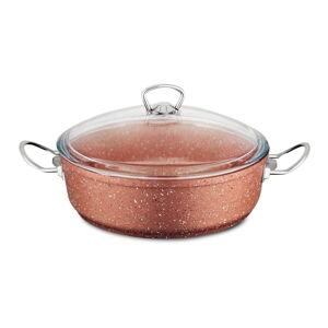 Růžový nízký hliníkový hrnec s poklicí Güral Porselen Classic,ø26cm