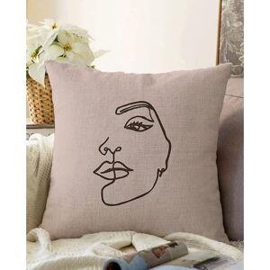 Béžový povlak na polštář s příměsí bavlny Minimalist Cushion Covers Chenille,55x55cm