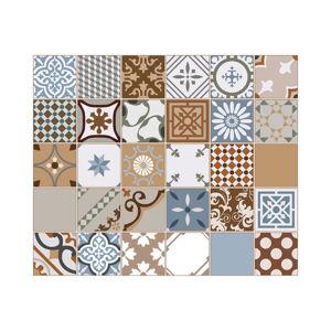 Sada 30 nástěnných samolepek Ambiance Wall Stickers Cement Tiles Azulejos Estefania, 15 x 15 cm