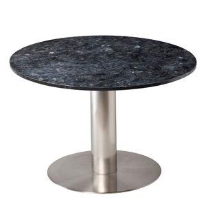 Černý žulový jídelní stůl s podnožím ve stříbrné barvě RGE Pepo, ⌀ 105 cm