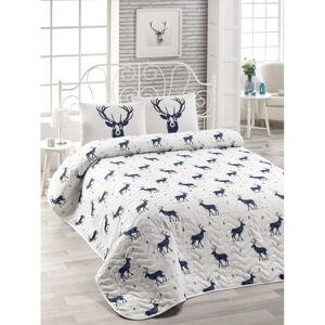 Prošívaný přehoz s příměsí bavlny na dvoulůžko EnLora Home Geyik Dark Blue, 250 x 200 cm