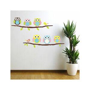 Sada nástěnných samolepek Ambiance Owls and Birds on Tree