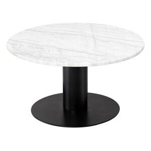 Bílý mramorový konferenční stolek s podnožím v černé barvě RGE Pepo, ⌀ 85 cm