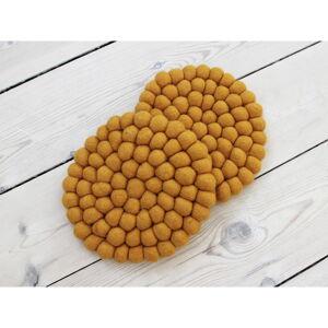Hořčicově žlutý kuličkový podtácek z vlny Wooldot Ball Coaster, ⌀ 20 cm
