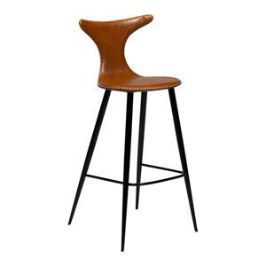 Koňakově hnědá barová židle z eko kůže DAN–FORM Denmark Dolphin, výška 107 cm