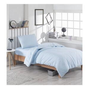 Světle modré povlečení s příměsí bavlny na jednolůžko Paint, 140 x 200 cm