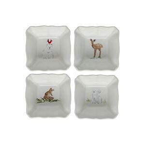 Sada 4 vánočních zapékacích mís z kameniny Casafina Deer Friends, 10 x 10 cm