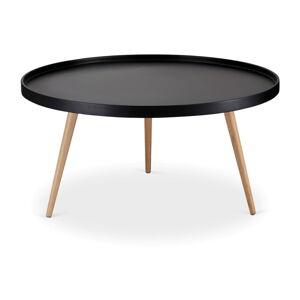 Černý konferenční stolek s nohami z bukového dřeva Furnhouse Opus, Ø90cm