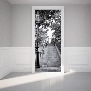 Adhezivní samolepka na dveře Ambiance Parisian Stairs