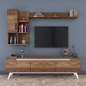 Set TV stolku a 2 nástěnných polic v dřevěném dekoru Nut