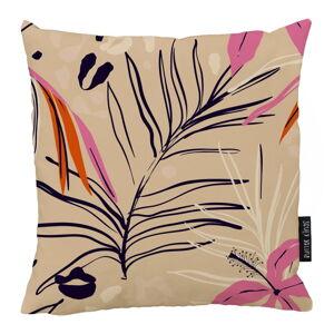 Béžovo-růžový bavlněný dekorativní polštář Butter Kings Jungle in Spring,50x50cm