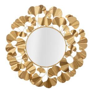 Nástěnné zrcadlo ve zlaté barvě Mauro Ferretti Leaf Gold, ø 81 cm