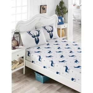 Set povlečení a 2 povlaků na polštáře s příměsí bavlny na dvoulůžko EnLora Home Geyik Dark Blue, 160 x 200 cm