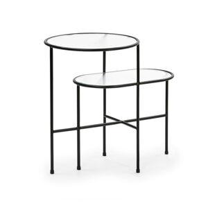 Černý odkládací stolek se skleněnou deskou Teulat Nix