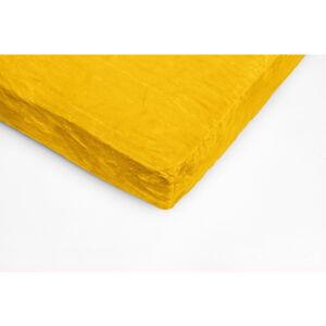 Žluté mikroplyšové prostěradlo My House, 90 x 200 cm