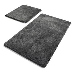 Sada 2 tmavě šedých obdélníkových koupelnových předložek Chilai