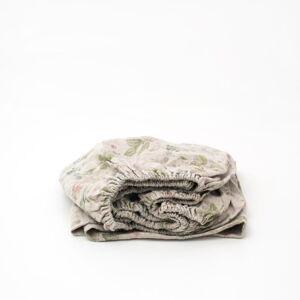 Dětské béžové lněné prostěradlo Linen Tales Botany,60x120cm