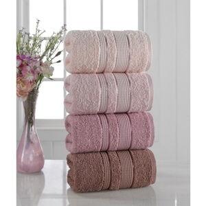 Sada 4 ručníků Pure Cotton Powder, 50 x 85 cm