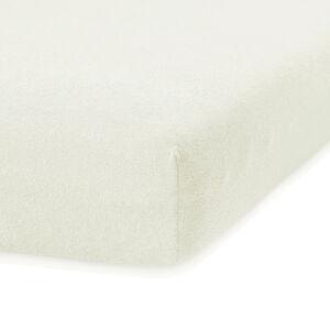 Krémově bílé elastické prostěradlo s vysokým podílem bavlny AmeliaHome Ruby, 80/90 x 200 cm