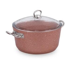 Růžový hliníkový hrnec s poklicí Güral Porselen Classic,ø24cm
