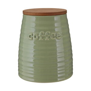 Zelená dóza na kávu s bambusovým víkem Premier Housewares Winnie, 950 ml